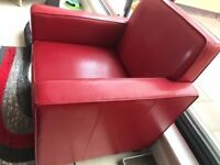 Stylish Red Faux Leather Armchair Very Good Condition Hardly Used Bargain