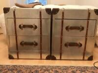 Gorgeous leather trunk side tables (42d x 50w x 60h)
