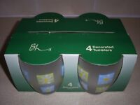 NEW Set of 4 Glass Tumblers in box