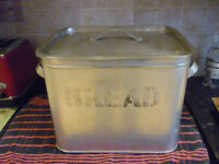 vintage retro silver coloured aluminium bread bin