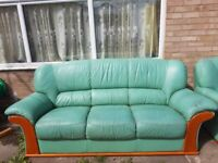 Three seater leather sofa and two armchairs free of charge