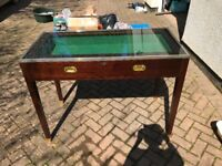 Glass Top Mahogany Display Table Pull Out Drawer ideal for Antiques Centre
