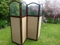 Elegant Antique quadruple dressing screen with glass tops in maghogany.