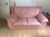 FREE 2 Seater Pastel Pink Leather Sofa