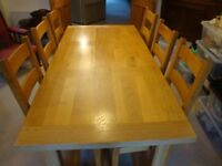 Dining Table and six chairs Manor oak refectory table