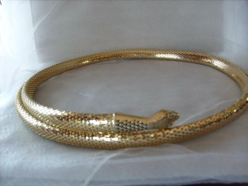 "Vintage Whiting & Davis Gold Snake Belt Wrap Around 37"""