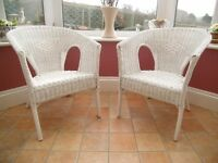 WICKER TUB CHAIRS - WHITE (BRAND NEW/UNUSED). DELIVERY POSSIBLE.