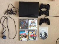 PS3 500gb with 7 games, three controllers and wires offers