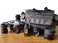 Pentax Spotmatic SP 1000 35mm SLR Film Camera multi lens kit