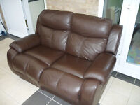 2 seater recliner chocolate brown color leather sofa.Free delivery.