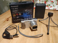 WHITE Panasonic Lumix DMC-TZ30 Digital Camera (boxed with cable, tripod and leather case) 32GB SD