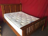 SOLID OAK DOUBLE BED WITH SILENTNIGHT MATTRESS,CAN DELIVER