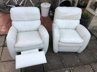 Cream Genuine Leather Recliner Armchairs