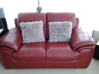 red leather 2 seater settee for sale excellent condition paid £500 sell for £150