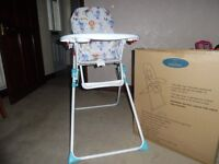 High chair Folds flat for storage
