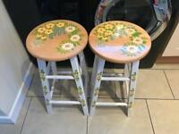 2 x hand painted Kitchen stools -£20