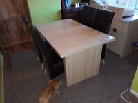 Bleached wood effect extendable table and 4 chairs (and/or) with matching sideboard