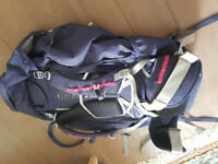 Berghaus Trailhead 60L Rucksack, Women's, Blue & pink