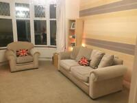 Three seater sofa and chair, NEXT cushions available for additional £10
