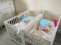 2 white X Ikea Gulliver cot beds