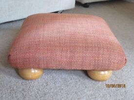 Footstool in gorgeous terracotta fabric with pine bun feet