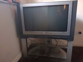 HITACHI TV WITH GLASS STAND