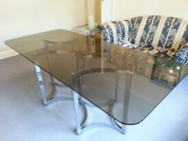 Stunning 70s Glass Dining Table with Chrome Base - seats 6+