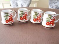 Set of 4 Shaped Mugs with Red Flower / Poppy Design