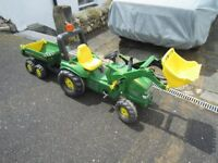 Rolly Toys John Deere pedal tractor with loader and tipping trailer