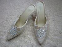 Ladies cream embellished slip on shoes, size 5