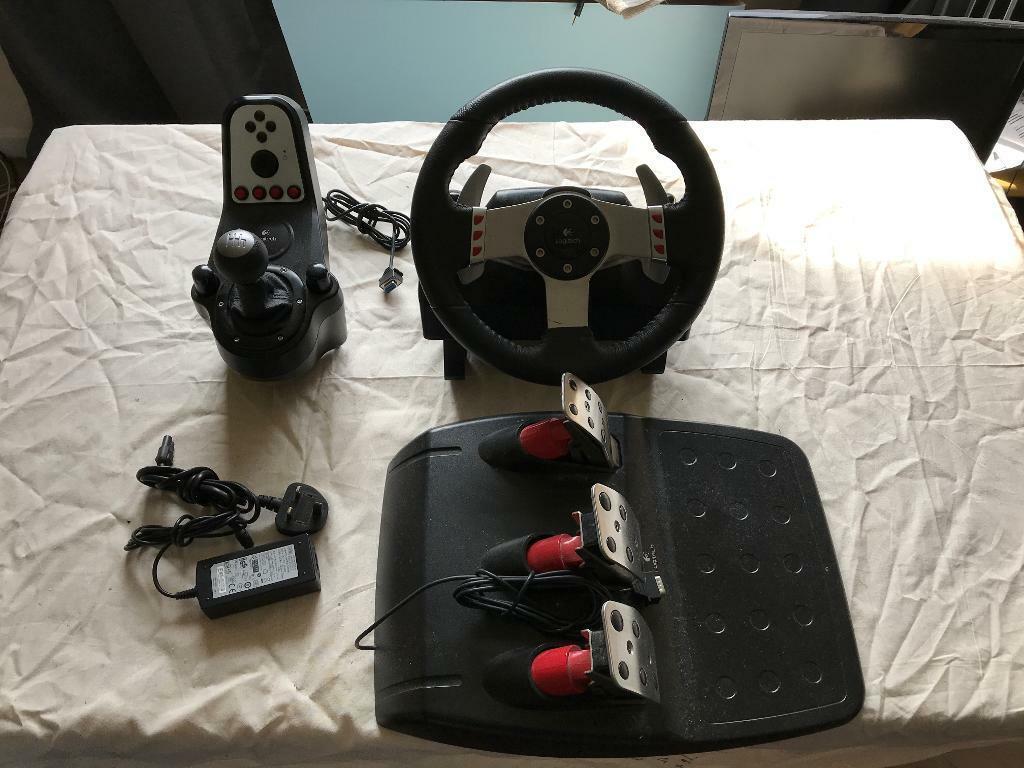 ec4676b0e91 Logitech G27 racing steering wheel controller with pedals & gear shifter