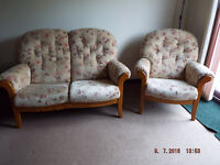 Cottage style sofa and chairs, wooden frame.