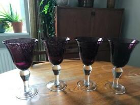 4 Large blown glass wine goblets
