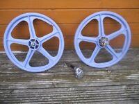 Raleigh burner sr stem & skyway tuff II's mags - bmx bike parts old school 80's