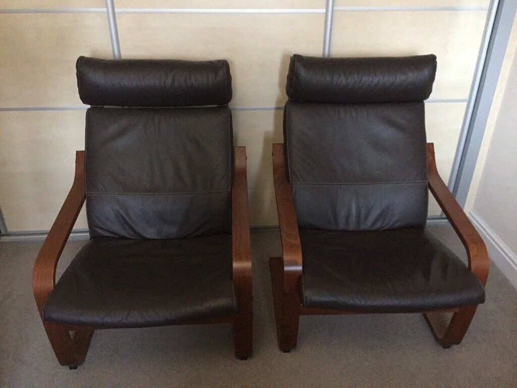 Ikea Poang Armchairs And Footstool For Sale 2 Brown