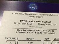 David Haye vs Tony Bellew at the O2 Arena x2 tickets