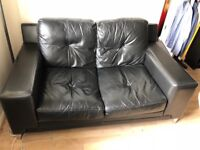 Leather 2 seat sofa and armchair