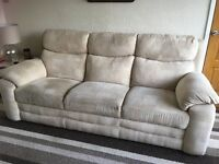 Sofa, recliner chair and storage box £250