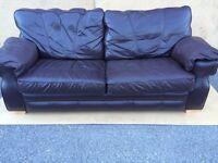 DARK BROWN REAL LEATHER 3 SEATER VERY COMFORTABLE SOFA FREE DELIVERY IN LIVERPOOL