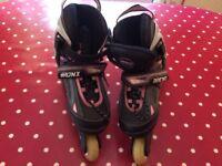 Bronx Inline Skates in black/grey/pink size 13 - 3 adjustable.