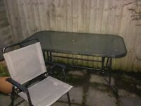 Reduced Glass top patio table & chairs
