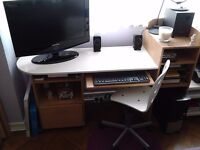 Large Computer Desk with Shelves and Drawer + Chair