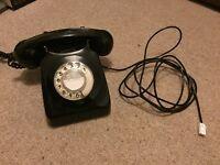 Vintage black corded home phone