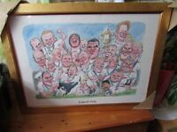 RARE RUGBY CARTOON IN FRAME SIGNED BY CHARLES GRIFFIN