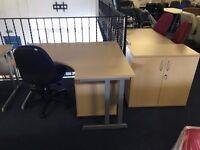 Beech office desk in crescent shape