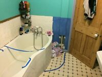 P shape bath, mixer taps with shower (used) plus brand new shower screen