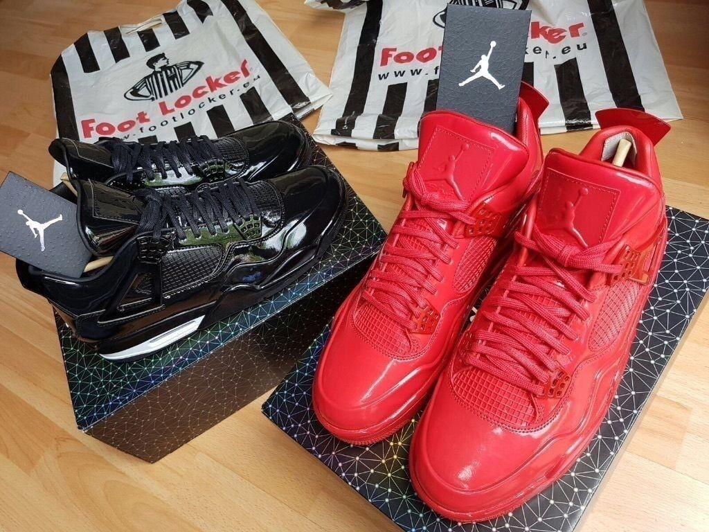 5d77ae0b813b3f Nike Air Jordan 4 11Lab4 BLACK Patent Leather QS LTD RARE LIKE KAWS UK10  ORIGINAL Receipt 100sales