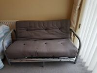 Metal framed double sofa bed including mattress