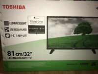 "Brand new Toshiba 32"" HD ready TV with Freeview and recording functionality"
