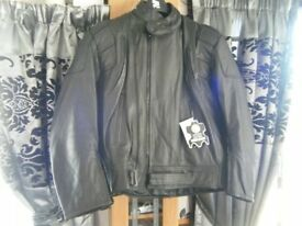 Black Leather Motorbike/Motorcycle Jacket BNWTs XL (more like a Large)